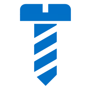 Blue icon of a screw