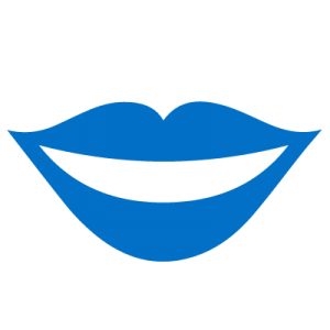 Blue icon of smiling lips