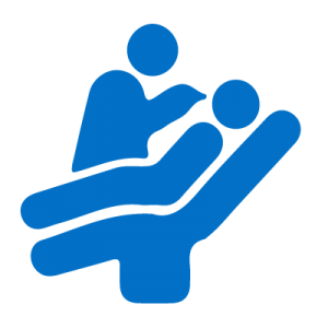Blue icon of patient and dentist